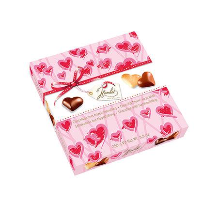 CHOKLADBUDET - Rosa pralinask med chokladhjärtan