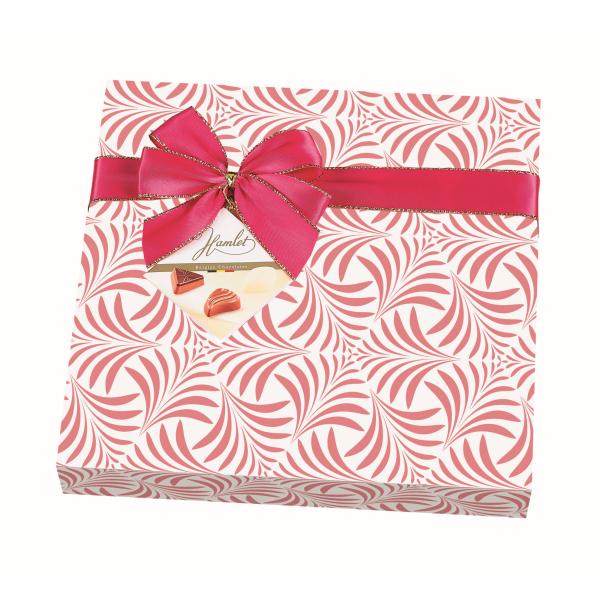 CHOKLADBUDET - Inslagen presentask med goda belgiska praliner, rosa