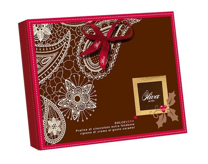 Chokladask Oliva - Praliner med mörk choklad och kolafyllning