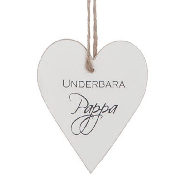 """Trähjärta med text - """"Underbara pappa"""" - à 25 kr"""