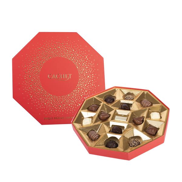 Chokladask Oktagon med guldprickar i relief från Cachet