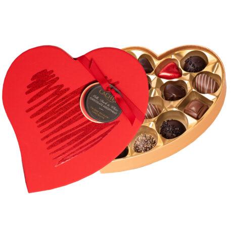 Valentina - Hjärtformad ask med chokladpraliner från Cachet
