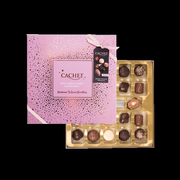 Rosa Chokladask med skimrande mönster i guld från Cachet