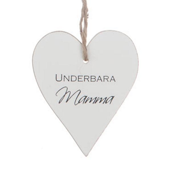 """Trähjärta med text - """"Underbara mamma"""" - à 25 kr"""