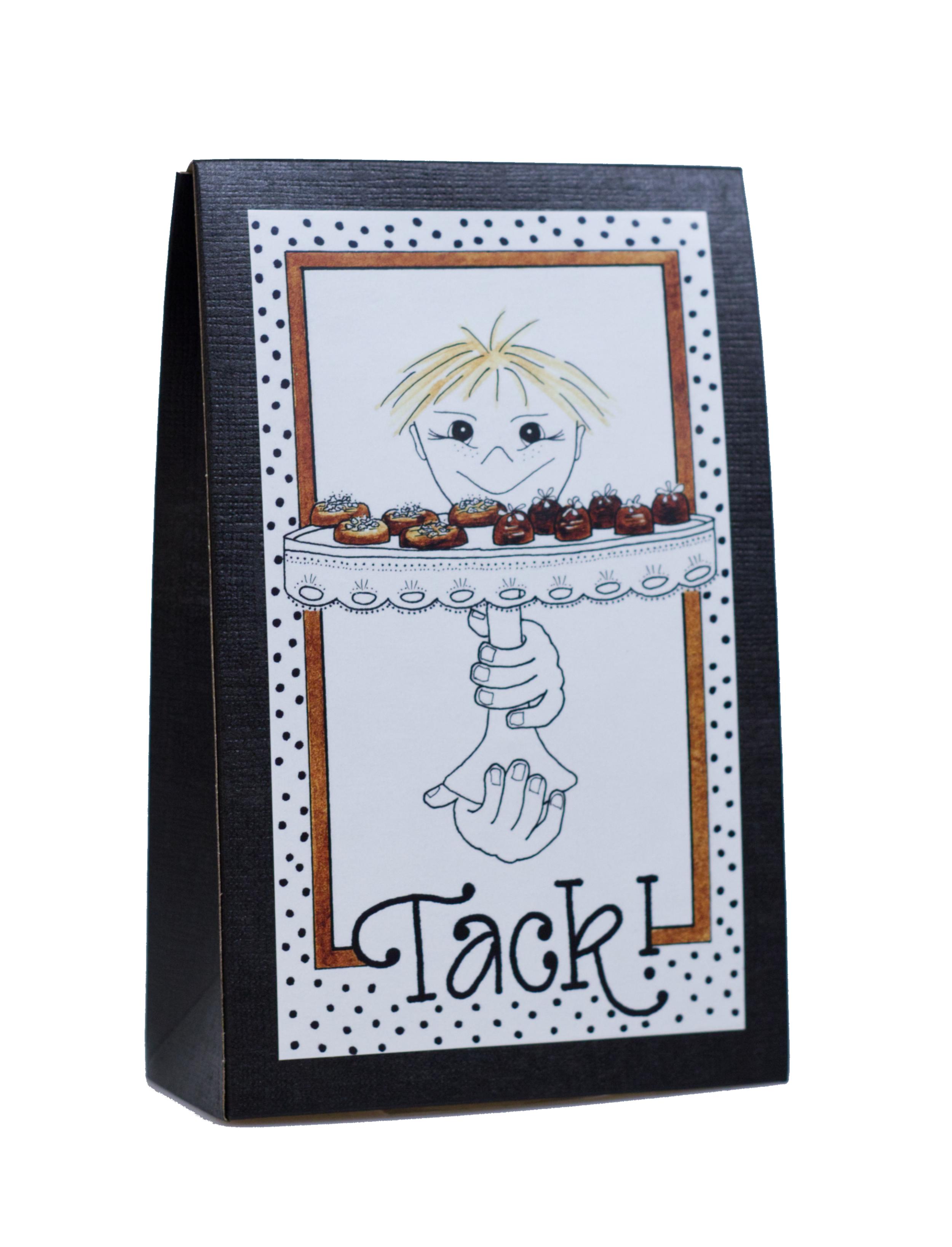 Presentask med choklad 'Tack'