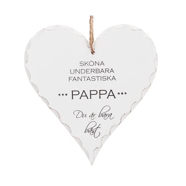 """Trähjärta med text - """"Sköna Underbara Fantastiska Pappa"""" - à 39 kr"""