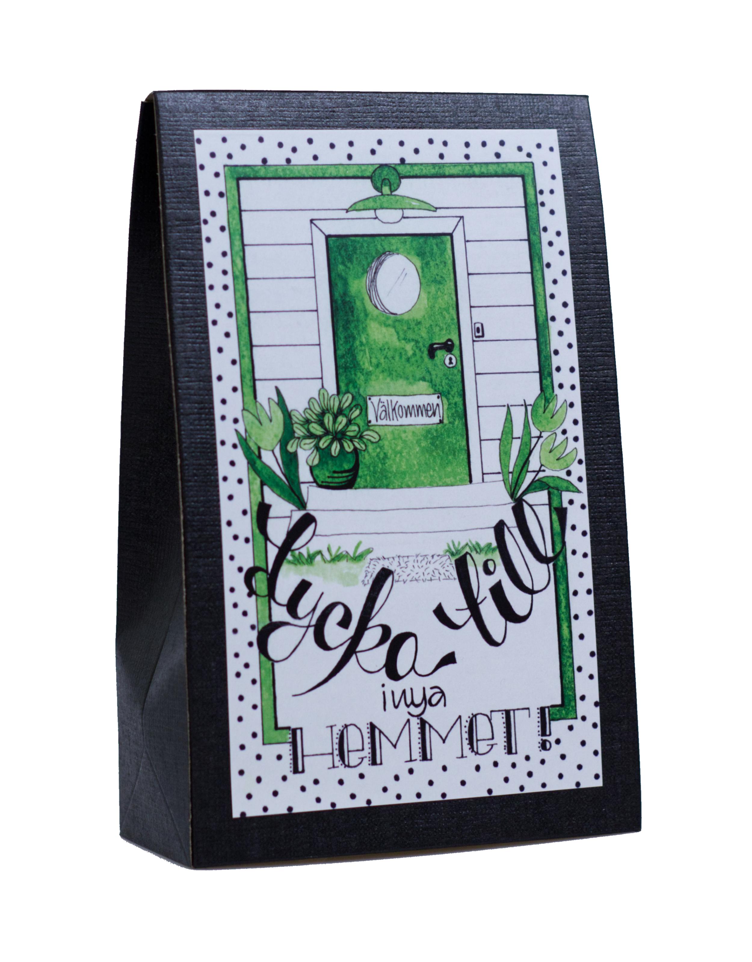 Presentask med choklad 'Lycka Till i nya Hemmet!'