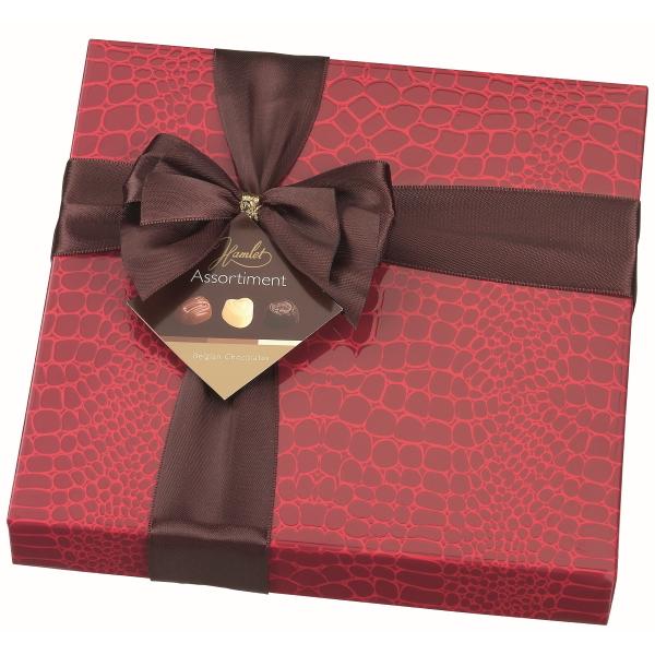 CHOKLADBUDET - Stilfull chokladask med krokodilmönster i rött